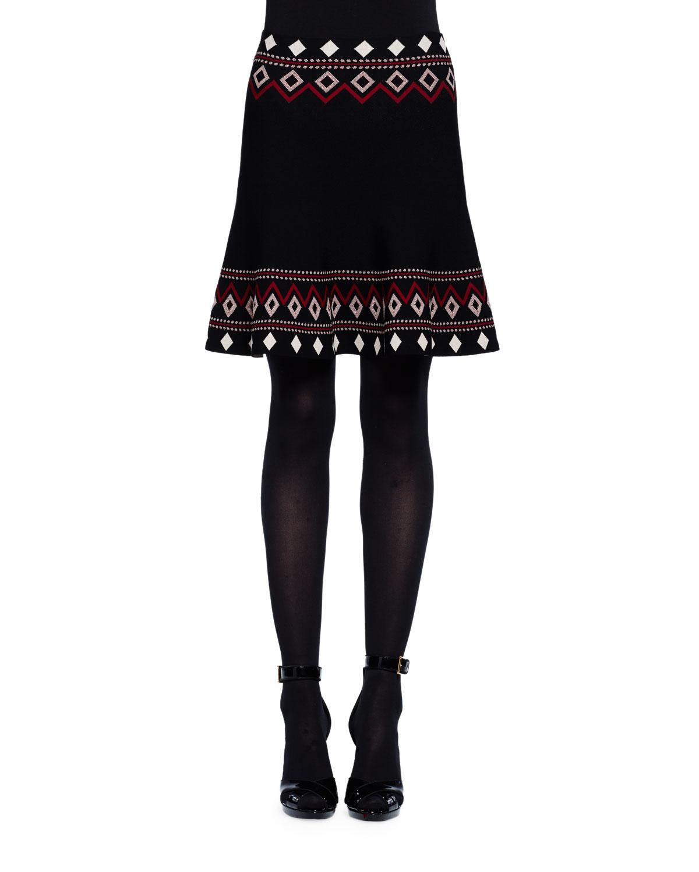 Flared Tribal Knit Skirt, Black