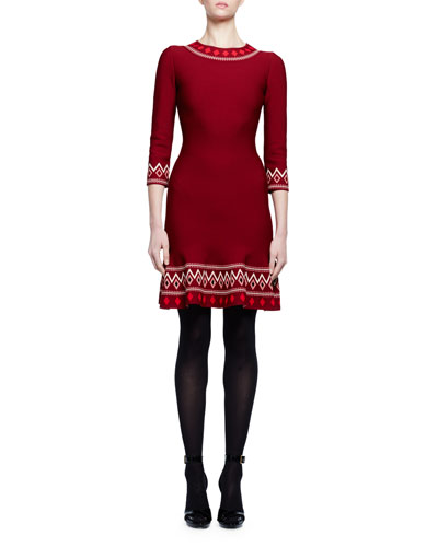 Tribal-Knit 3/4-Sleeve Dress, Burgundy
