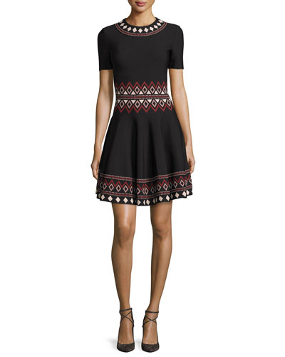 Short-Sleeve Flared Tribal-Knit Dress, Black/Multi