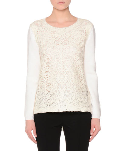 Long-Sleeve Lace-Embroidered Sweater, Ivory