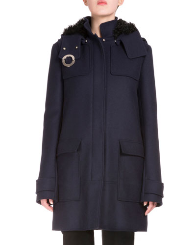Snap-Front Long Coat W/Removable Hood, Navy