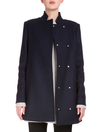 Wool-Blend Back-Tie Swing Coat, Navy
