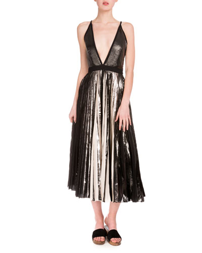 Plunging Pleated Metallic Midi Dress, Black/Silver