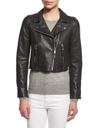 Barry Cropped Leather Moto Jacket, Black