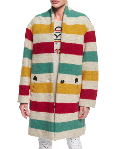 Gabrie Striped Blanket Coat, Ivory/Multi