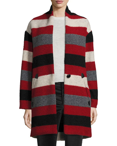 Gabrie Striped Blanket Coat, Red