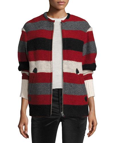 Fimo Striped Blanket Jacket, Red