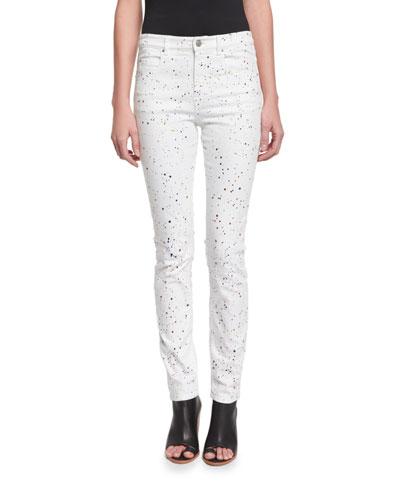 Ennet Splatter-Print Jeans, White