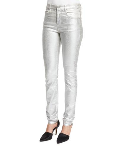 Ellos Metallic Slim-Leg Jeans, Silver