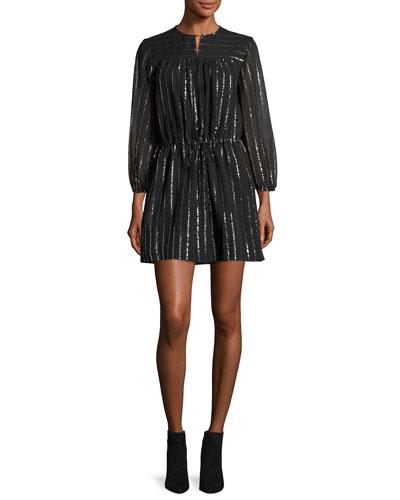 Salome Metallic Peasant Dress, Black