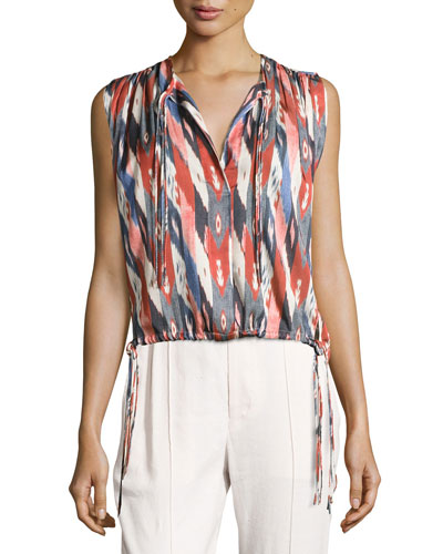 Hervey Sleeveless Drawstring Top, Ivory