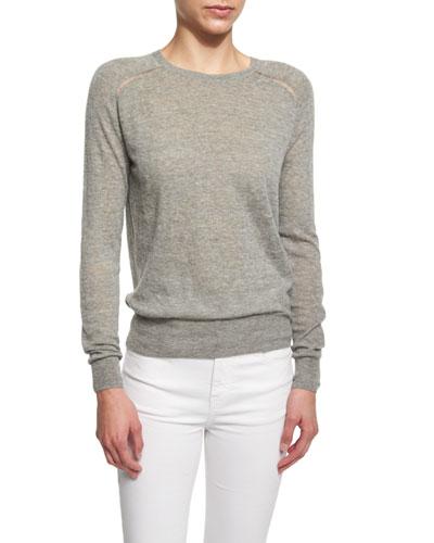 Foty Burnout Long-Sleeve Sweater, Gray
