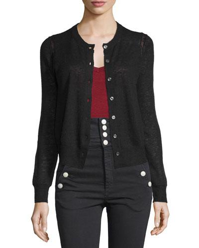 Fairlea Knit Cardigan Sweater, Black