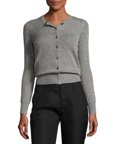 Fairlea Knit Cardigan Sweater, Gray