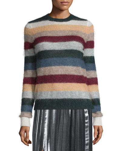 Cassy Striped Mohair-Blend Sweater, Rust