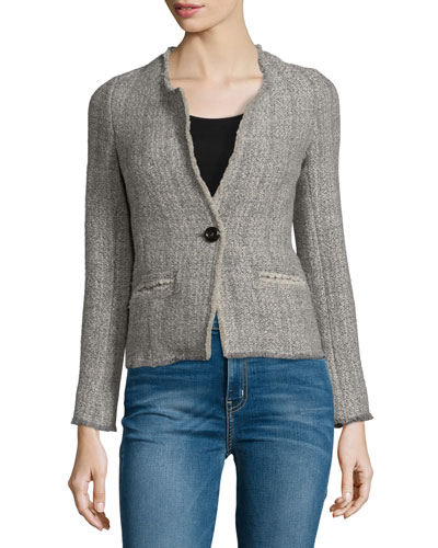 Leary Structured Tweed Blazer, Gray
