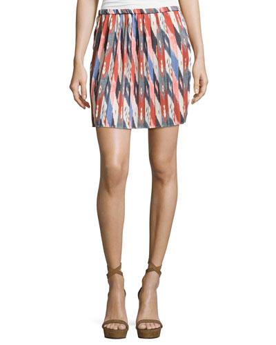 Hanoi Pleated Mini Skirt, Ivory