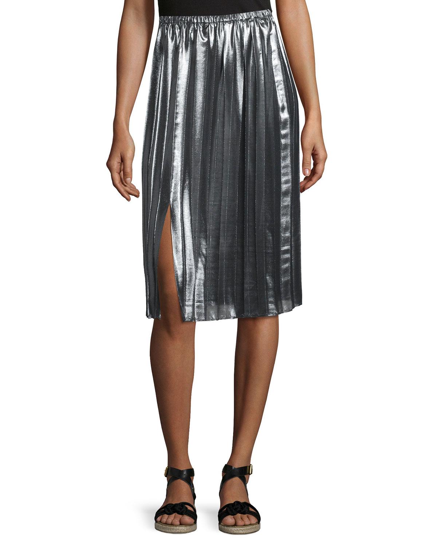 Madlen Pleated Metallic Midi Skirt, Silver