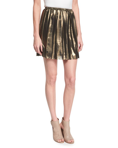 Manda Pleated Metallic Mini Skirt, Gold