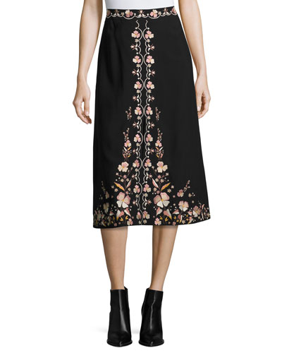 Claire Floral-Embroidered Skirt, Black