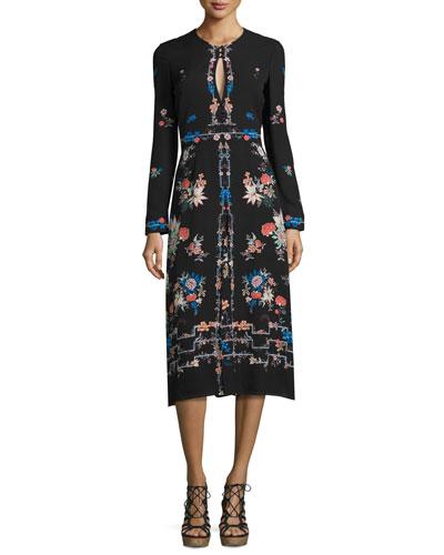 Jerry Long-Sleeve Floral Silk Dress, Black