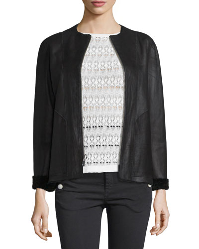 Reversible Shearling-Lined Leather Jacket, Black