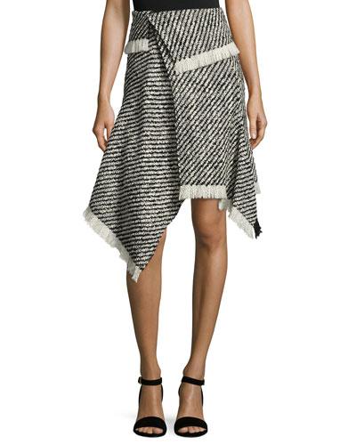 Asymmetric Woven Fringe Wool Skirt, Ecru/Black