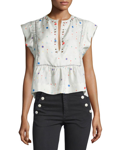 Grommet-Studded Space-Dot Silk Top, Ecru
