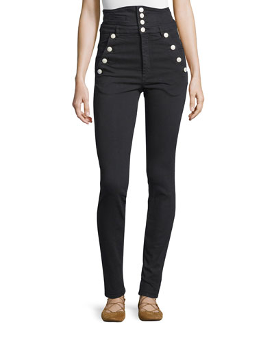 High-Waist Button-Front Pants, Black