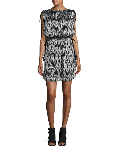 Tassel-Tie Ikat-Print Dress, Black
