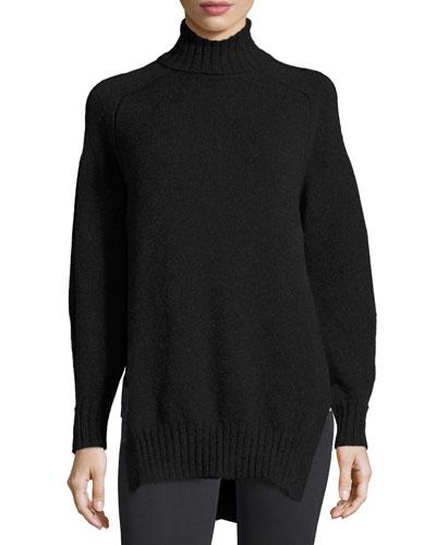 Wool-Blend Turtleneck Sweater, Black