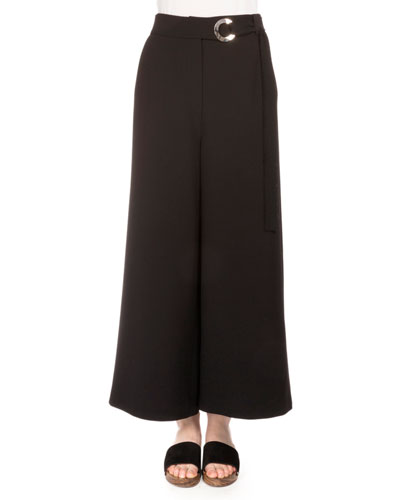 Cropped Stretch-Woven Culottes, Black