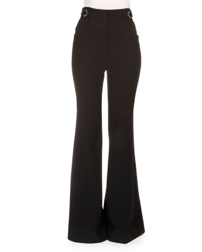 High-Waist Flare-Leg Suiting Pants, Black