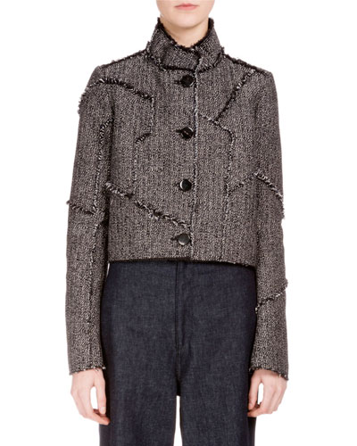 Button-Front Patchwork Cropped Jacket, Midnight