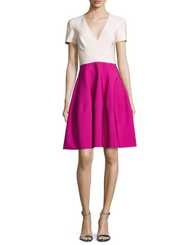 Short-Sleeve V-Neck Colorblock Dress, Raspberry
