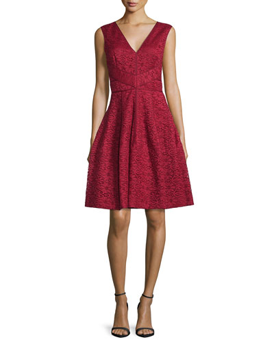 Sleeveless Lace Fit & Flare Dress, Red