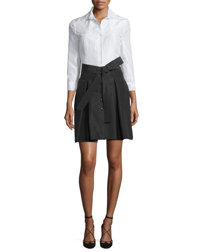 3/4-Sleeve Colorblock Trench Dress, White/Black