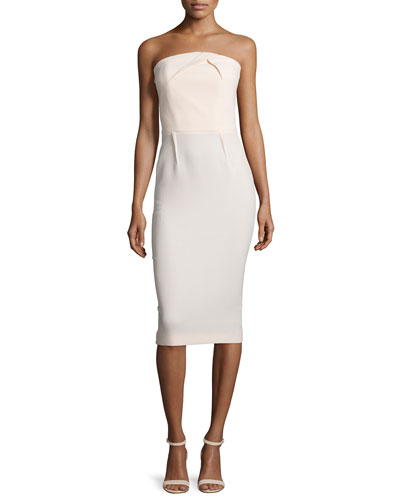 Pleated Strapless Wool Crepe Dress, Nude