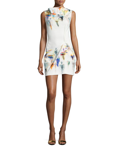 Sleeveless Pleated Floral-Print Shift Dress, Iris