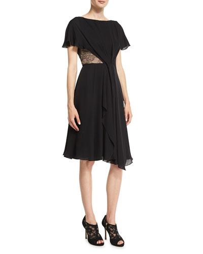 Flutter-Sleeve Lace & Georgette Day Dress, Black