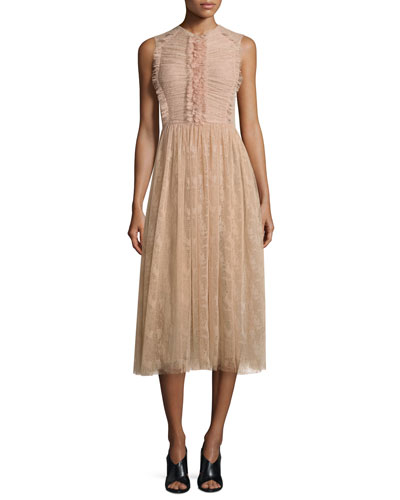 Sleeveless Abstract Lace Dress, Fawn