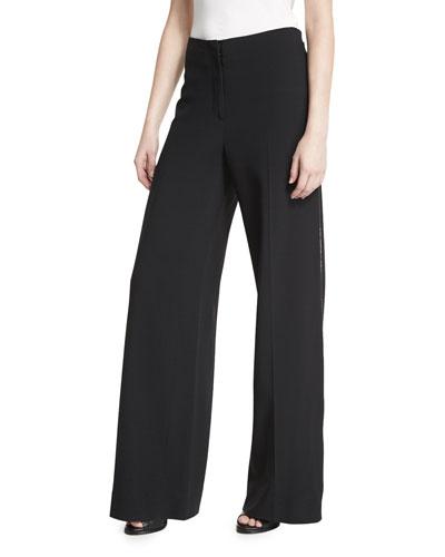 Wide-Leg Side-Zip Crepe Pants, Black