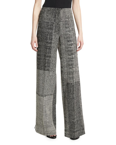 Patchwork Houndstooth Wide-Leg Pants, Black/Chalk