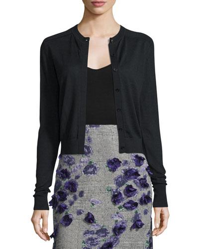 Wool-Blend Lace-Back Cardigan Sweater, Black