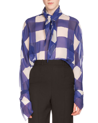 Gingham Georgette Knot Blouse, Indigo