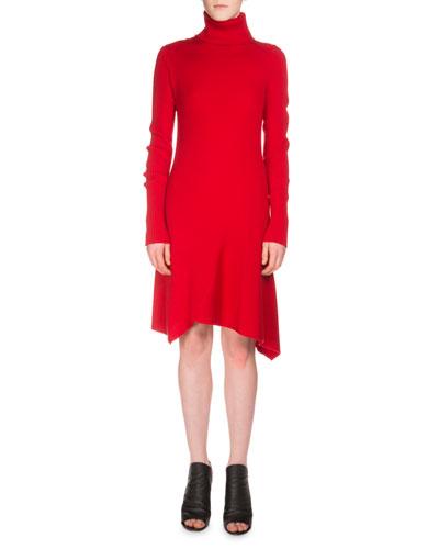 Long-Sleeve Ribbed Turtleneck Dress, Cherry
