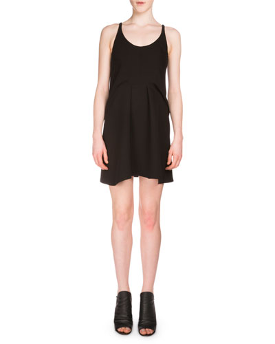 Sleeveless Crepe Tank Dress, Black