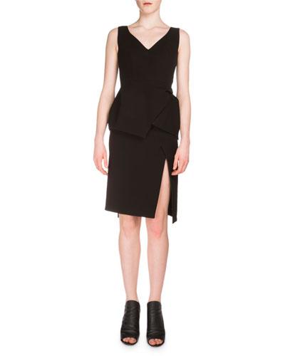 Sleeveless V-Neck Peplum Dress, Black
