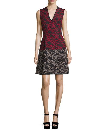 Thistle Jacquard Fit & Flare Dress, Black/Multi