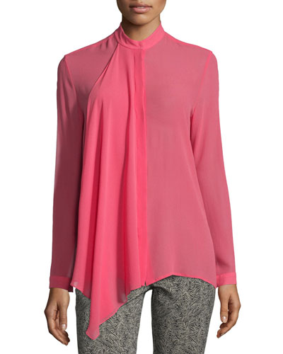 Ruffle-Front Silk Georgette Blouse, Pink